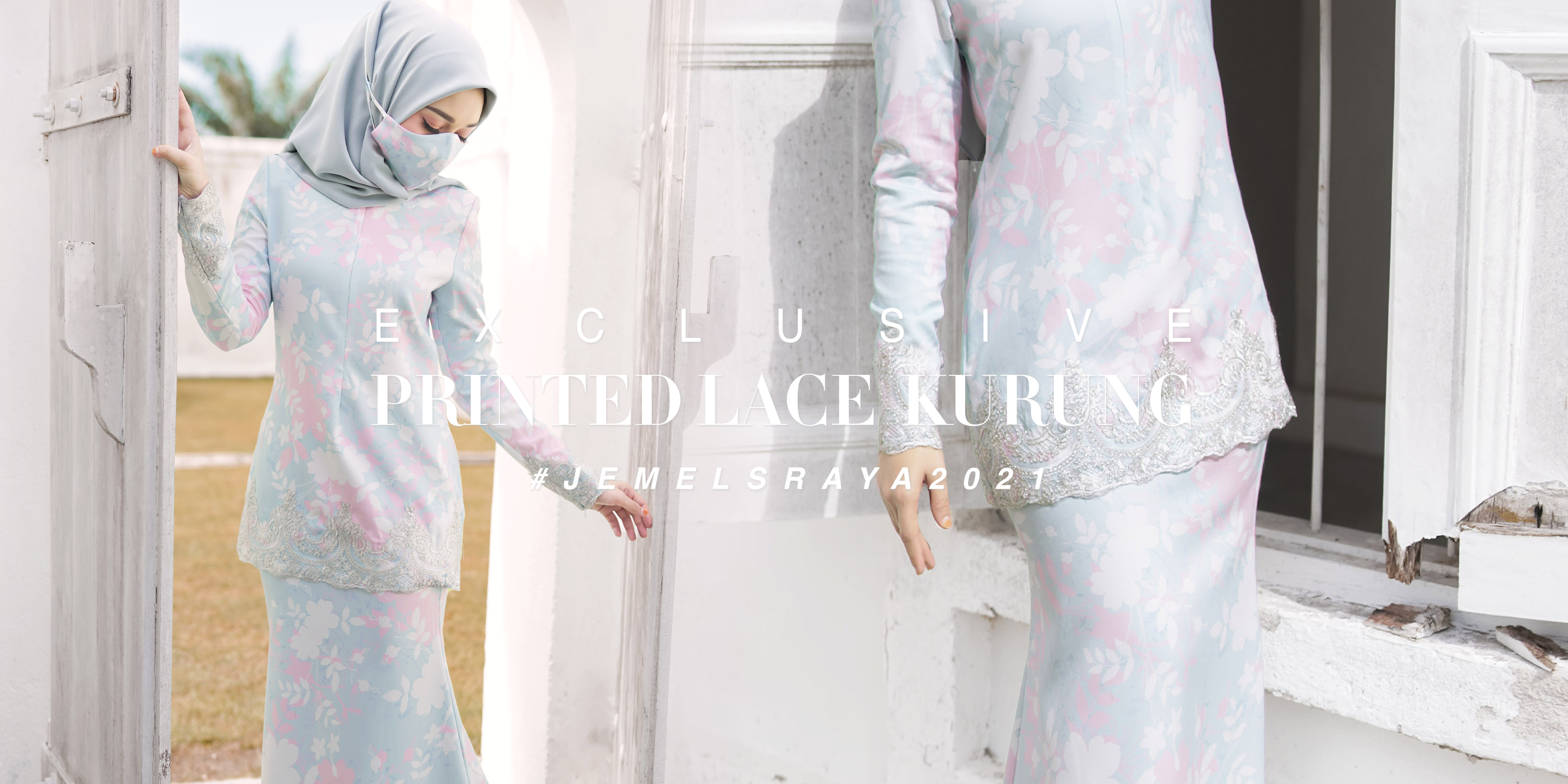 PRINTED MINI KURUNG WITH SILVER LACE